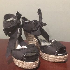 White House Black Market Black Ribbon Tie Wedges